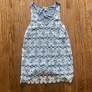 White and Gray Lace Tank Top  - Made in USA!